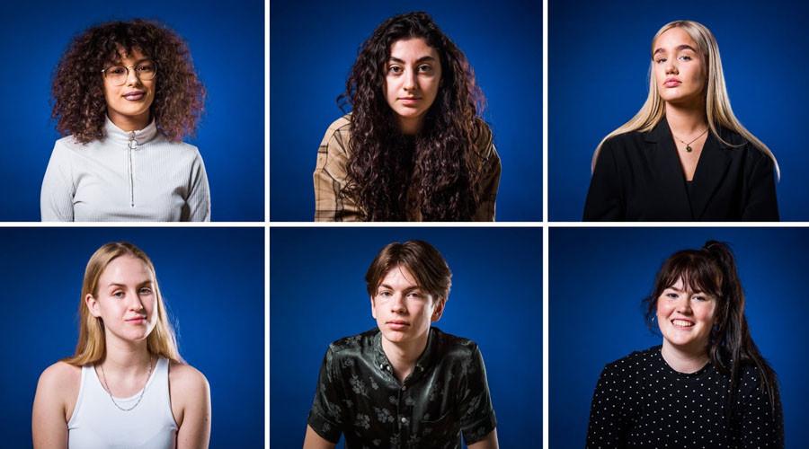 Zes van de zeven deelnemers Stage Your Voice 2021. Foto Jorieke de Vet
